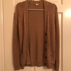 J Crew Gold Metallic Cardigan size Small